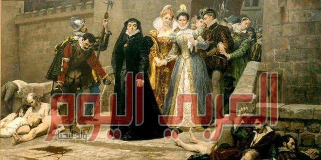 لوحة تمثل مذبحة سانت برتملي في فرنسا عام 1572