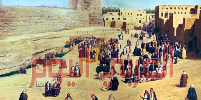 الفنان التشكيلي أحمد المغلوث يسجل سوق الخميس بالاحساء في لوحة