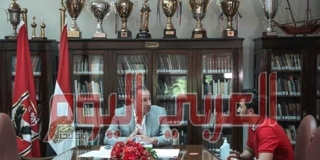 الأهلي يكشف تفاصيل زيارة تريزيغيه لمقر النادي وجلسته مع الخطيب
